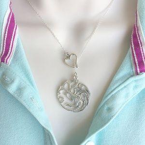 Dragon (GOT) Silver Lariat Y Necklace.
